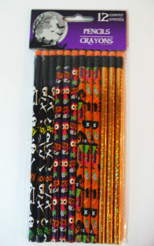 HALLOWEEN PENCILS 12 PK CHOOSE FROM 3 STYLES  PARTY FAVORS OR FOR THE CLASSROOM