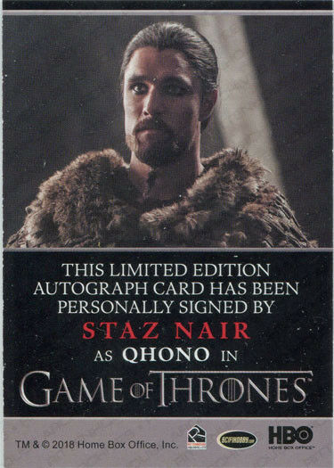 Cheap Sale Staz Nair Autograph As Qhono From Game Of Thrones Season 7 Game Of Thrones Trading Cards