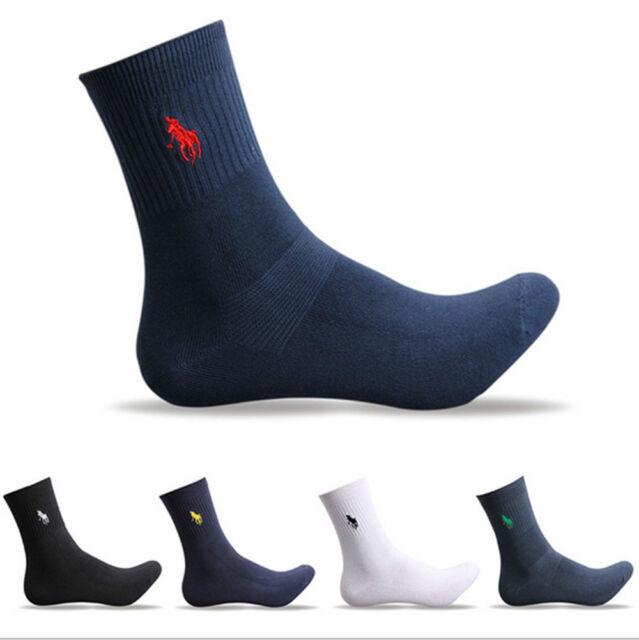 5 Pairs Men's Polo Business Classic Style Pure Crew Quarter Dress Cotton Socks
