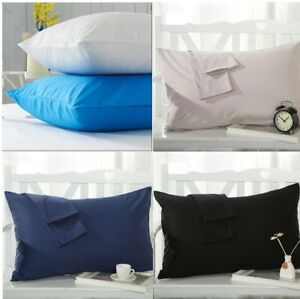 2x-Pillow-Case-Luxury-Cases-Poly-Cotton-Pair-Pack-Housewife-Bedroom-Pillow-Cover