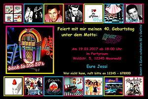 40 Einladungskarten 50s 50er Party Geburtstag Einladungen Disco Rock