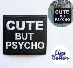 Cute But Psycho Iron On Patch Badge Biker Lady Dog Vest Motive Sticker