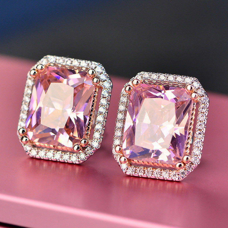 5.20Ct Emerald Cut Pink Diamond Halo Stud Earrings Solid 14K White gold Finish