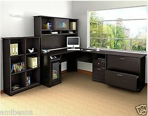 Stupendous Details About Office Furniture Workstation Set Executive L Shaped Desk Hutch File Cabinet Home Interior And Landscaping Ologienasavecom