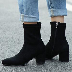 78816043fd541 Women Suede Zipper Block Heel Plus Size Casual Short Ankle Sock ...