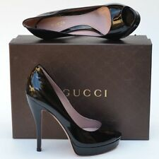 GUCCI New sz 38.5 8.5 Black $695 Authentic Designer Womens Platform Heels Shoes
