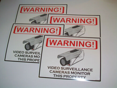 Security Surveillance CCTV Camera Warning Sign Lot of 4