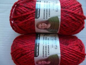 Loops-amp-Threads-Charisma-Heather-bulky-yarn-Red-lot-of-2-93-yds-each