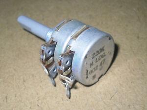 Twin Gang Potentiometer. 220 Kohm. Log.  Radio/Electronics/Amplifier. NOS.