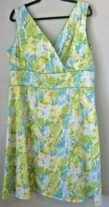 Women-s-Dress-Sleeveless-Blue-Green-Yellow-Floral-Print-Size-18-Amanda-Smith