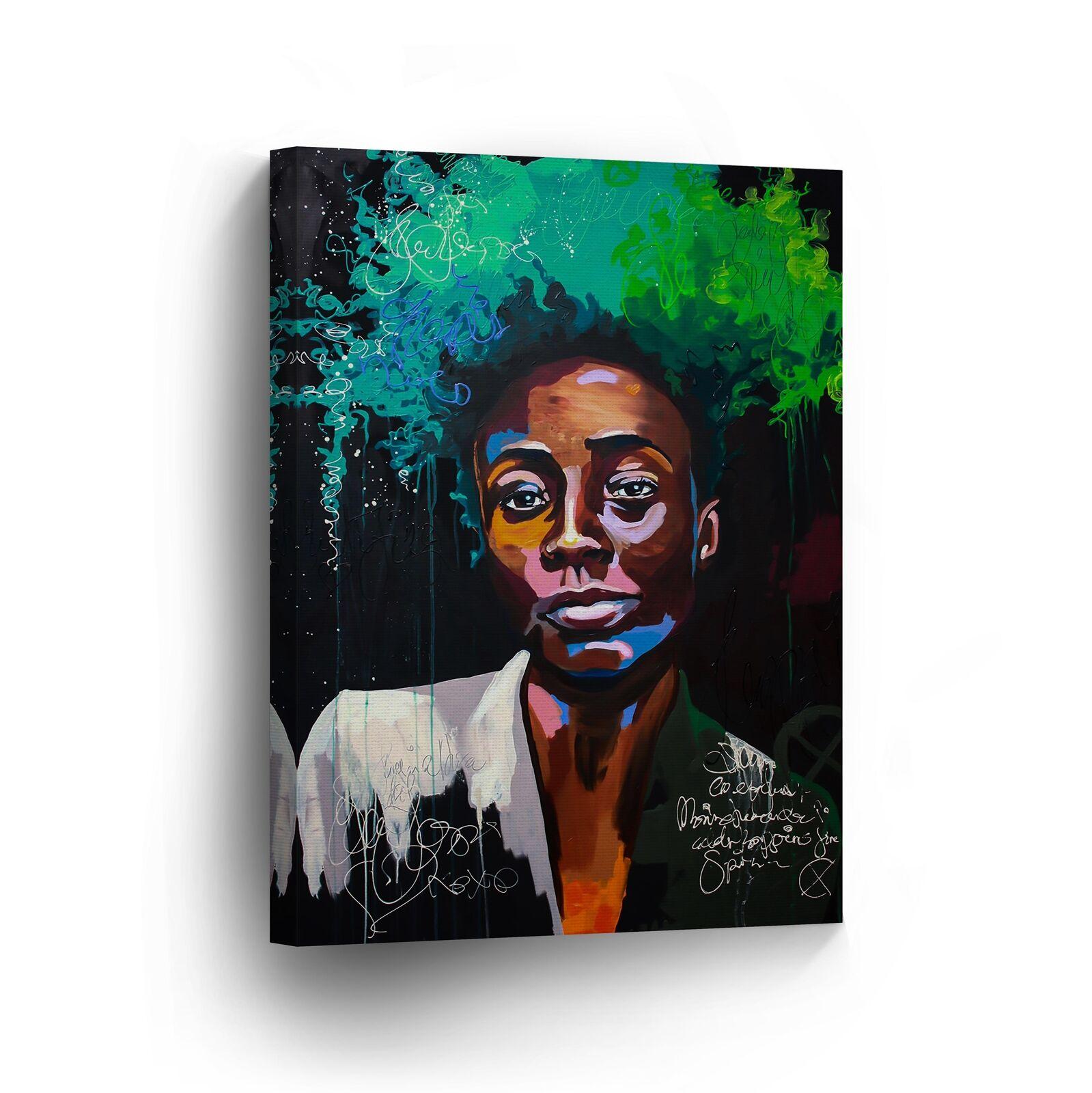Cool African Man Afro Hair Farbeful Modern CANVAS PRINT Wall Art Home Decor