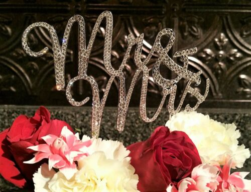 2 Pack Set MR and MRS Silver Crystal Wedding Cake Topper Reception Decoration