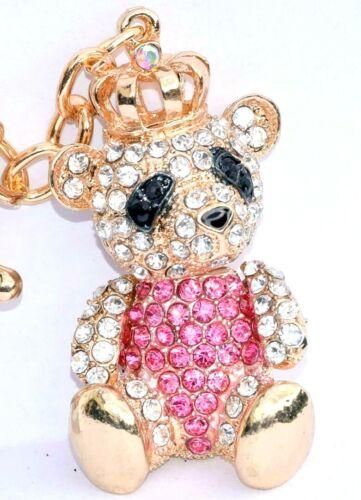 PANDA Crown Keyring Handbag Charm Diamante Rhinestone Charm AUTHENTIC PINK PINK