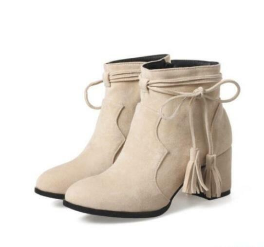 Womens Strappy Tassel Lace Up Ankle Boots Dress Zip Med Block Heels shoes Plus s