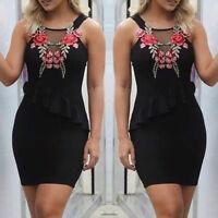 HOT Summer Womens Sexy bodycon Flower sleeveless Short mini Dress Cocktail Dress