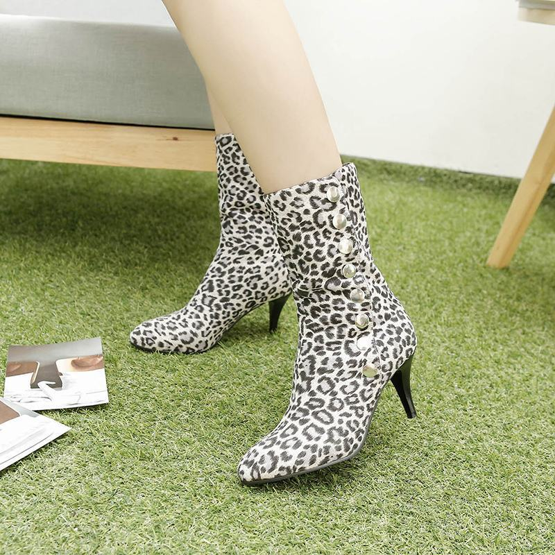 Ladies Rivet Decor Pointy Toe Leopard Kitten Heels Mid Calf Boots Casual shoes