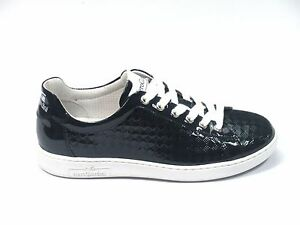 SCARPE NERO GIARDINI DONNA SNEAKERS P717253D VERNICE MARINE MADE IN ITALY SHOES