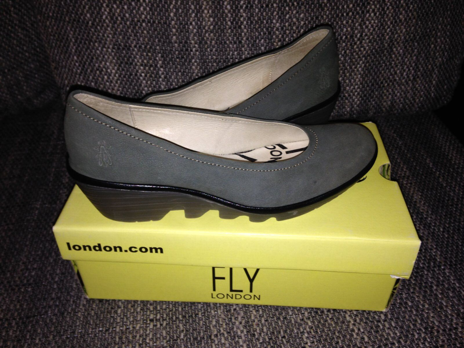 Damen Plateau Pumps Fly London Gr. 41 Grau Khaki