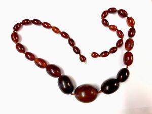 Vintage-Graduated-Cognac-Marbled-24-Inch-Bakelite-Bead-Necklace-74g