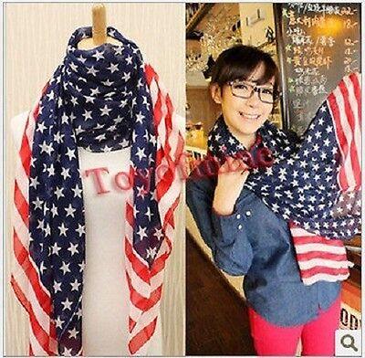 New Ladies Women American Stars Flags Scarf Silk Neck Wraps Beachwear Shawl