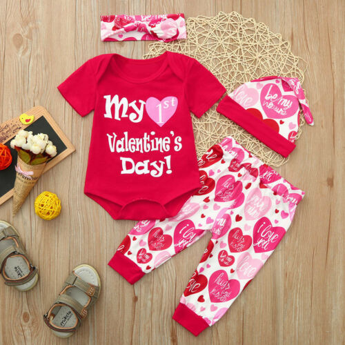 US Baby Infant Outfits My 1st Valentines Day Tops Romper Pants Hat 4pcs Set LM