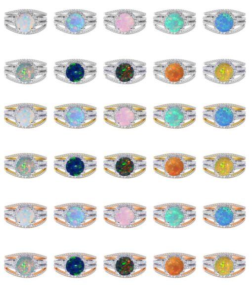 18k Vergoldet Feuer Opal Geburtsstein Hochzeit Verlobung Silberring Set 2.35