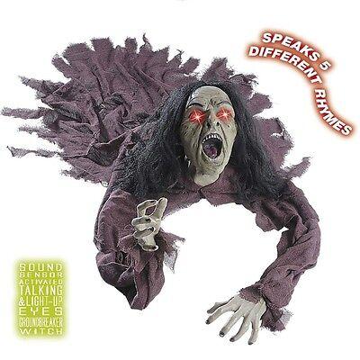 Animierte Halloween Deko Sprechende Hexe Mit Leuchtende Augen 160 Cm 7878 Ebay