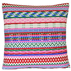 Rojo-Rosa-Diamantes-Tribal-Funda-De-Cojin-Algodon-Tejido-Decorativo-40cm-60cm