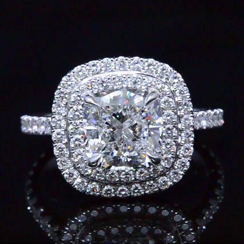 18K WG New 2.65 Ct. Cushion Cut Diamond Dual Halo Engagement Ring H, VS1 GIA