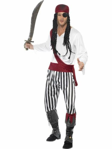 Pirate Mens Fancy Dress Costume Party Outfit  Adult Caribbean Buccaneer