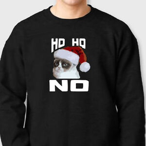 Funny Grumpy Cat Christmas Memes.Details About Ho Ho No Funny Grumpy Cat T Shirt Holiday Humor Internet Meme Crew Sweatshirt