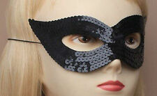 Ladies Black Sequin Catwoman Style Mask With Elastic Fastening & Felt Backing