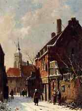 Eversen Adrianus Figures In The Streets Of A Dutch Town In Winter A4 Print