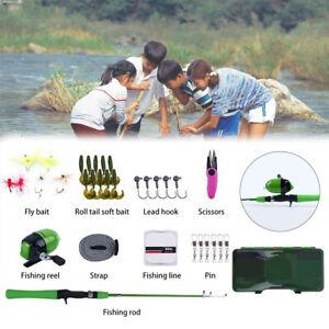 Complete Full Fishing Set Kit for Junior Kids Children Casting Rod Reel Combo
