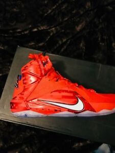 buy popular d619d 7787b Image is loading Nike-Lebron-XII-Independence-Day-July-4th-Red-