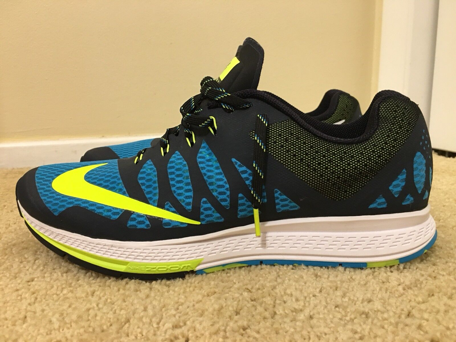 NIKE AIR ZOOM ELITE 7, 654443-404, Black bluee, Men's Running shoes, Size 12.5