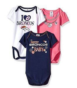 f1017e54f Denver Broncos NFL Infant Baby Girls  3-Pack Bodysuits Creepers  0 3 ...