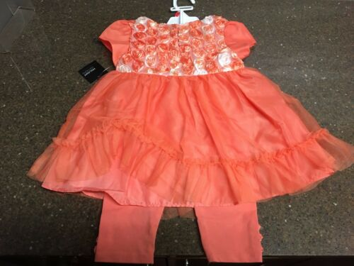 Girls Holiday Editions Peach Floral Dress 2 Piece with Pants Outfit NWT Size 3T