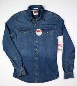 New-Wrangler-Long-Sleeve-Denim-Shirt-Indigo-Color-Slim-Fit-Men-039-s-Sizes-S-3XL