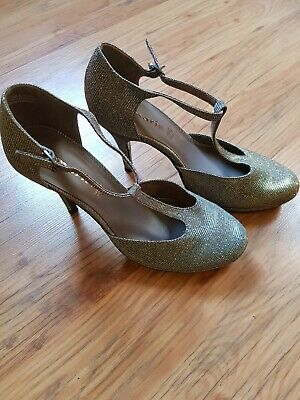 TAMARIS Gr 40 Sandaletten Sandalen Absatz high heels Silber Gold glitzer Top Zus | eBay