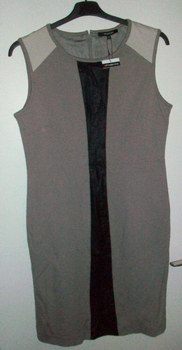 Fabiani, Damen Mini-Kleid, Gr. 40, Taupe, mit Kunstleder Besatz, Neu
