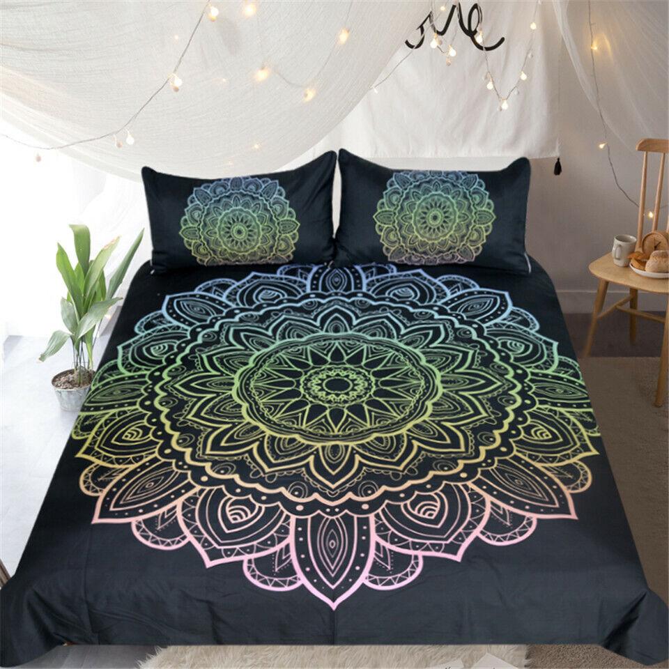 Bohemian Flower Mandala Floral Double Single Quilt Duvet Pillow Cover Bed Set