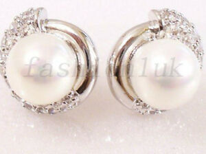Details About Women White Gold Plated Simulated Diamond S Pearl Luxury Stud Earrings Uk