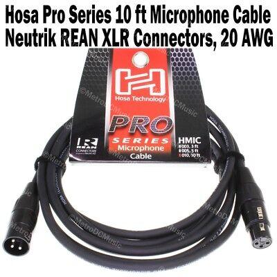 Hosa Pro Series 10 ft XLR Microphone Cable Neutrik REAN Connectors HMIC-010