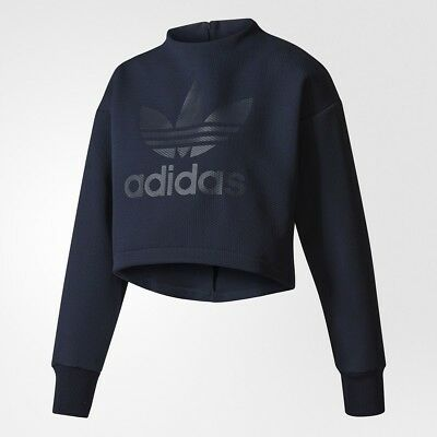 $70 Adidas Donna Originali Logo Trifoglio Felpa Blu Legend Inchiostro