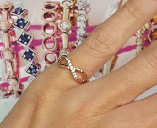 Christmas Sterling 925 Cubic Zirconia Rose Gold Love Forever Infinity Band Ring