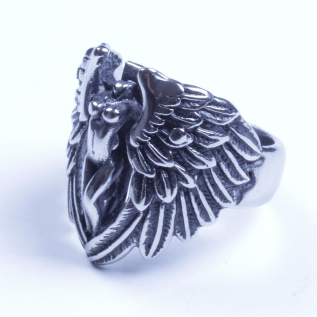 US Seller Men Stainless Steel Angel Wings Biker Ring Size 7-15 SR89