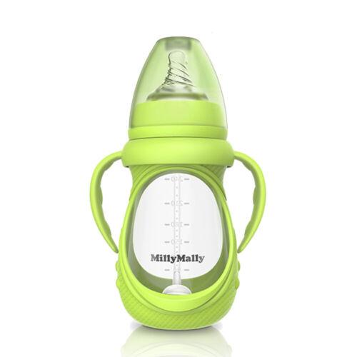 Bouteille en verre de bébé anti-colique à col large avec poignée détachable D2E4
