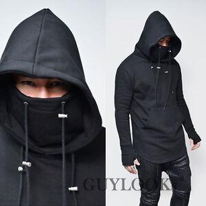 Built-in Armwarmer Mens Ninja Highneck Turtle Pullover Hoodie Hood ...