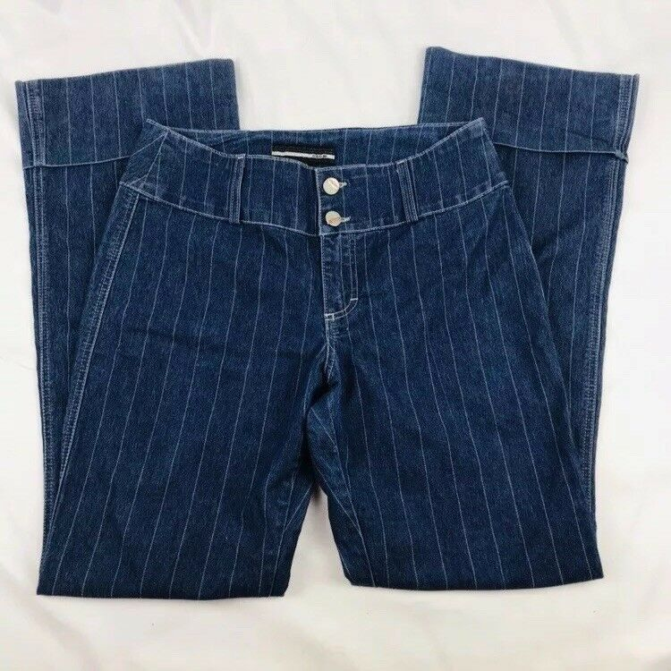 Bebe Striped Jean Trousers Wide Leg Size 30x31 Made In USA